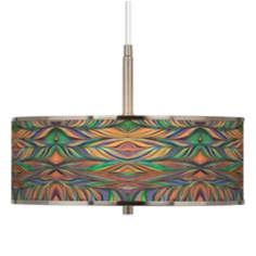 "Exotic Peacock Giclee Glow 16"" Wide Pendant Light"