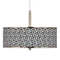 "Greek Key Giclee Glow 16"" Wide Pendant Light"