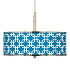 "Blue Lattice Giclee Glow 16"" Wide Pendant Light"