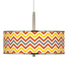 "Flame Zig Zag Giclee Glow 16"" Wide Pendant Light"