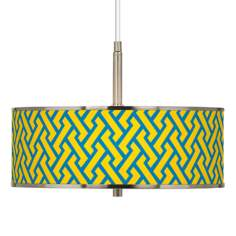"Yellow Brick Weave Giclee Glow 16"" Wide Pendant Light"