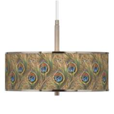 "Iridescent Feather Giclee Glow 16"" Wide Pendant Light"