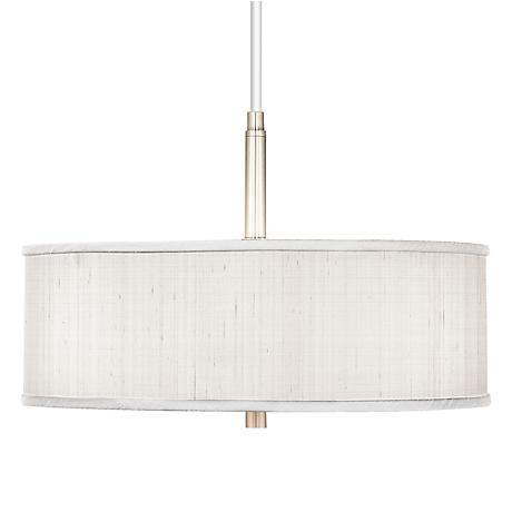 "Cream Textured Silk 16"" Wide Pendant Chandelier"