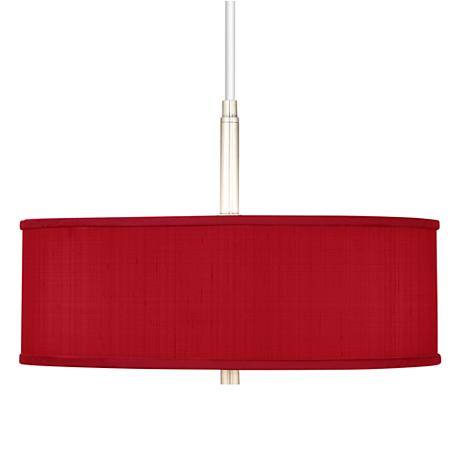 China Red Textured Silk 16 Quot Wide Pendant Chandelier