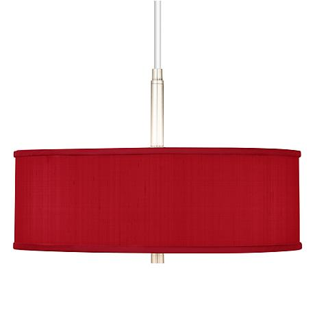 "China Red Textured Silk 16"" Wide Pendant Chandelier"