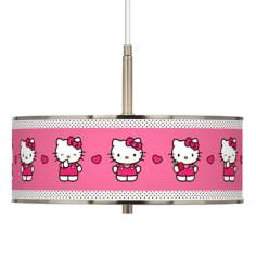 "Hello Kitty Pink and Polka Dots 16"" Wide Pendant Light"