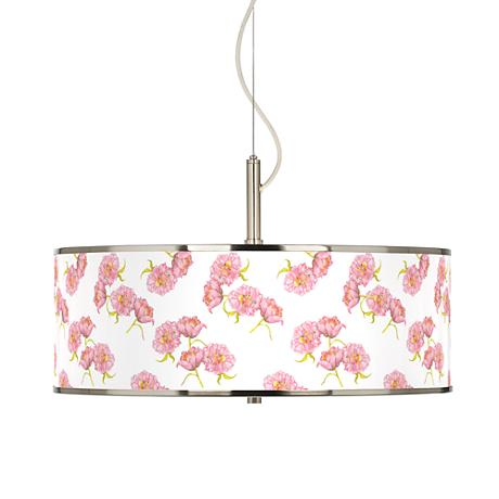 "Pretty Peonies Giclee Glow 20"" Wide Pendant Light"