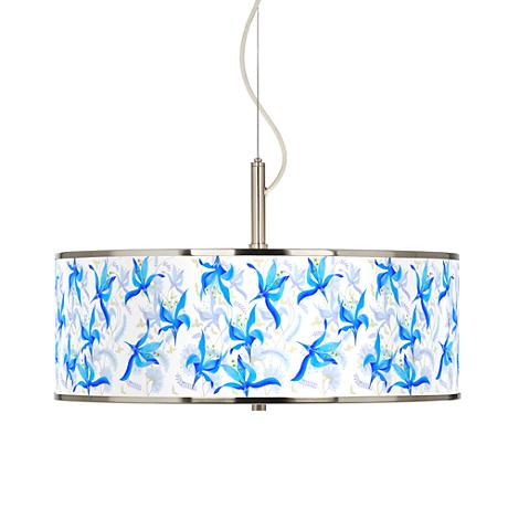 "Flora Bleu Giclee Glow 20"" Wide Pendant Light"