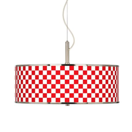 "Checkered Red Giclee Glow 20"" Wide Pendant Light"