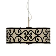"Cambria Scroll Giclee Glow 20"" Wide Pendant Light"