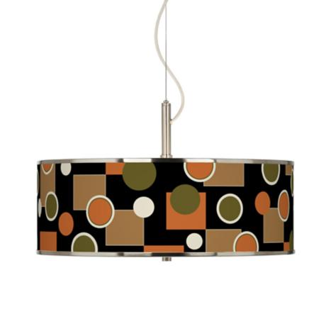 "Retro Medley Giclee Glow 20"" Wide Pendant Light"