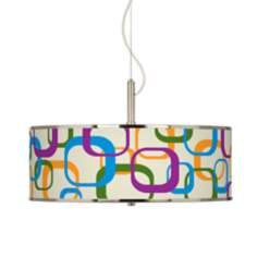"Retro Square Scramble Giclee Glow 20"" Wide Pendant Light"