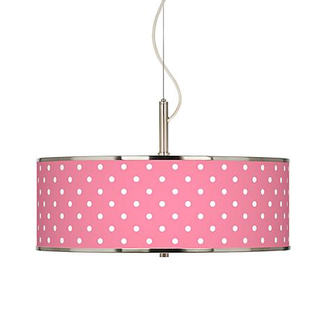 "Mini Dots Pink Giclee Glow 20"" Wide Pendant Light"