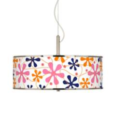 "Retro Pink Giclee Glow 20"" Wide Pendant Light"