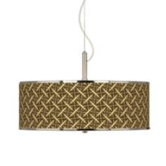 "Tan Wailia Giclee Glow 20"" Wide Pendant Light"