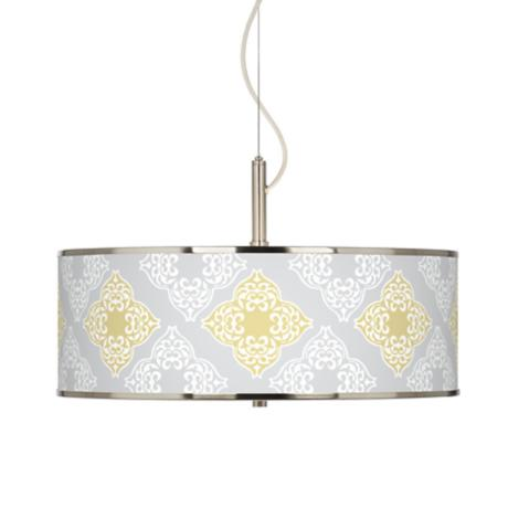 "Aster Grey Giclee Glow 20"" Wide Pendant Light"