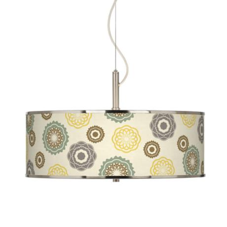"Ornaments Linen Giclee Glow 20"" Wide Pendant Light"