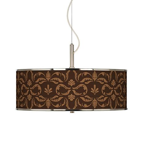 "Mocha Flourish Linen Giclee Glow 20"" Wide Pendant Light"