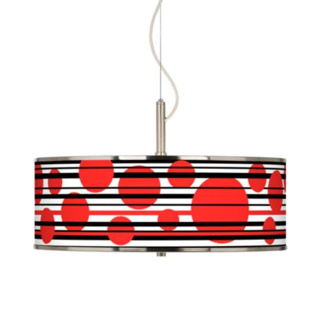 "Red Balls Giclee Glow 20"" Wide Pendant Light"