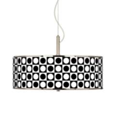 "Black and White Dotted Squares Giclee Glow 20"" Pendant Light"