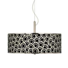 "Black and Ivory Circlets Giclee Glow 20"" Wide Pendant Light"