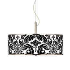 "Black Tapestry Giclee Glow 20"" Wide Pendant Light"