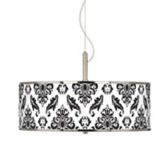 "Black Filigree Giclee Glow 20"" Wide Pendant Light"