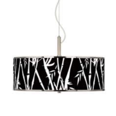 "Night Bamboo Giclee Glow 20"" Wide Pendant Light"