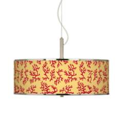 "Crimson Coral Giclee Glow 20"" Wide Pendant Light"