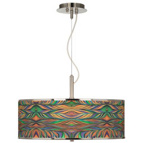 "Exotic Peacock Giclee Glow 20"" Wide Pendant Light"