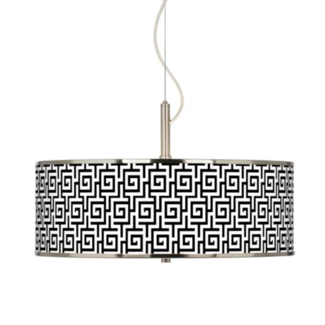 "Greek Key Giclee Glow 20"" Wide Pendant Light"