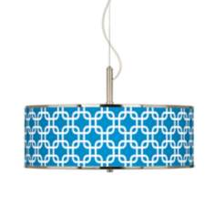 "Blue Lattice Giclee Glow 20"" Wide Pendant Light"