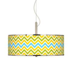 "Citrus Zig Zag Giclee Glow 20"" Wide Pendant Light"