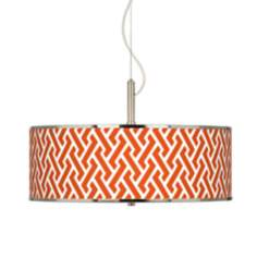 "Red Brick Weave Giclee Glow 20"" Wide Pendant Light"