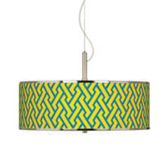 "Yellow Brick Weave Giclee Glow 20"" Wide Pendant Light"