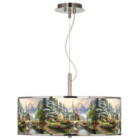 "Thomas Kinkade Dogwood Chapel 20"" Wide Pendant Light"
