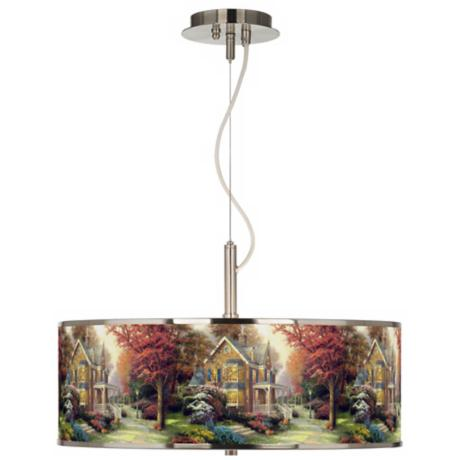 "Thomas Kinkade Victorian Autumn 20"" Wide Pendant Light"