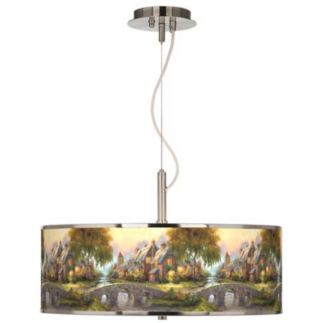 "Thomas Kinkade Cobblestone Bridge 20"" Wide Pendant Light"