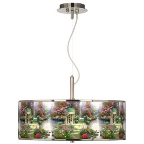 "Thomas Kinkade The Garden of Prayer 20"" Pendant Light"