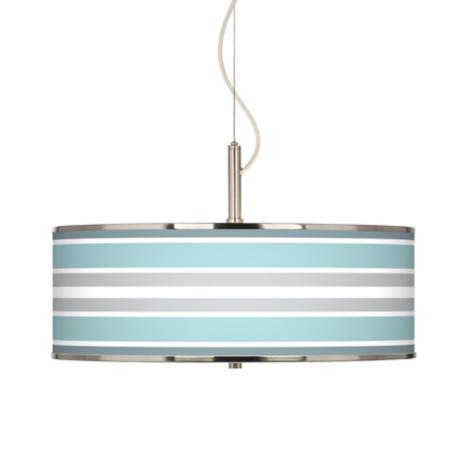 "Multi Color Stripes Giclee Glow 20"" Wide Pendant Light"