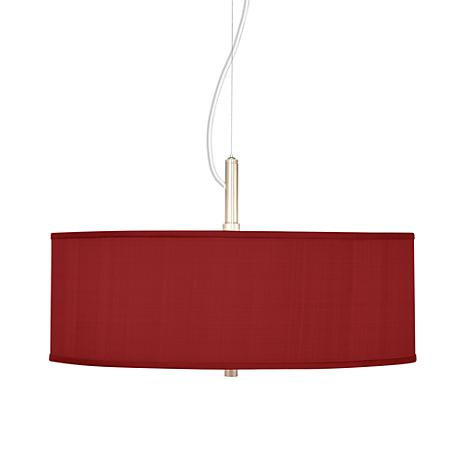 China Red Textured Silk 20 Quot Wide Pendant Chandelier