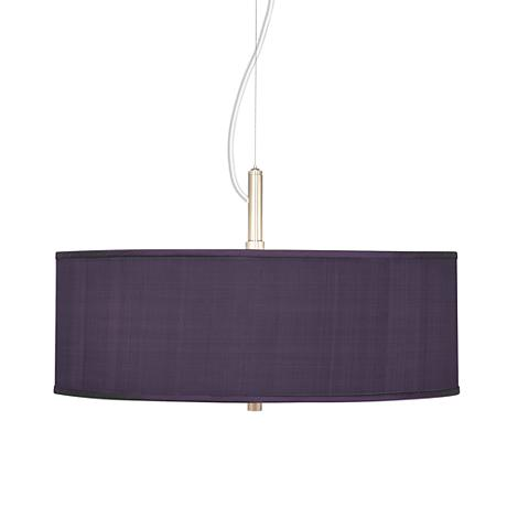 "Eggplant Textured Silk 20"" Wide Pendant Chandelier"