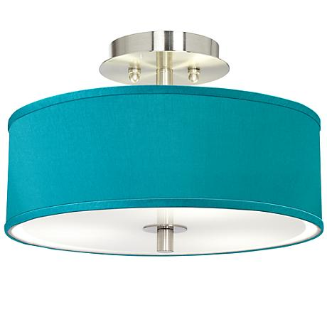 Teal Blue Faux Silk 14 Quot Wide Brushed Steel Ceiling Light T6396 4d242 Www Lampsplus Com
