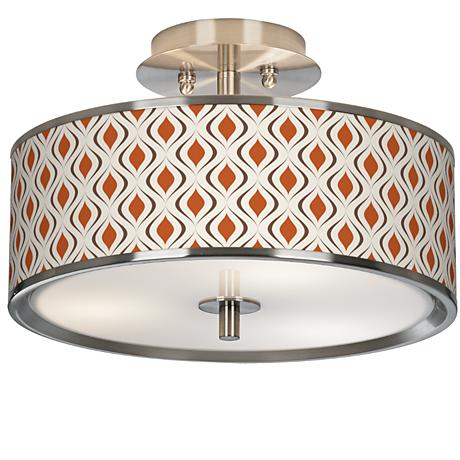 "Retro Lattice Giclee Glow 14"" Wide Ceiling Light"