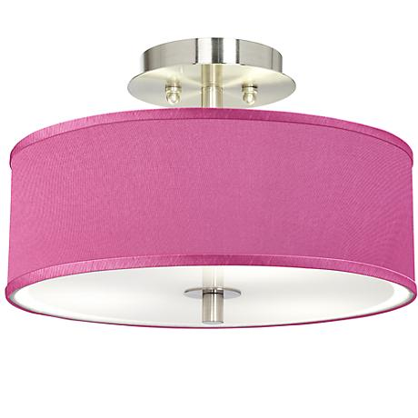 "Pink Orchid Faux Silk 14"" Wide Steel Ceiling Light"