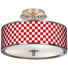 "Checkered Red Giclee Glow 14"" Wide Ceiling Light"