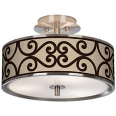 "Cambria Scroll Giclee Glow 14"" Wide Ceiling Light"