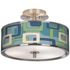 "Retro Rectangles Giclee Glow 14"" Wide Ceiling Light"