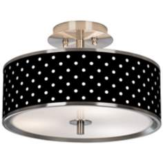 "Mini Dots Black Giclee Glow 14"" Wide Ceiling Light"
