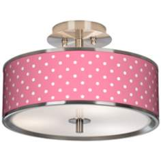 "Mini Dots Pink Giclee Glow 14"" Wide Ceiling Light"